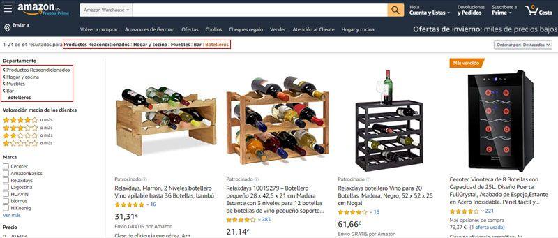 botelleros de vino usados en amazon