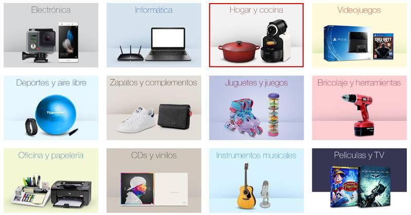 categoría hogar y cocina en amazon españa